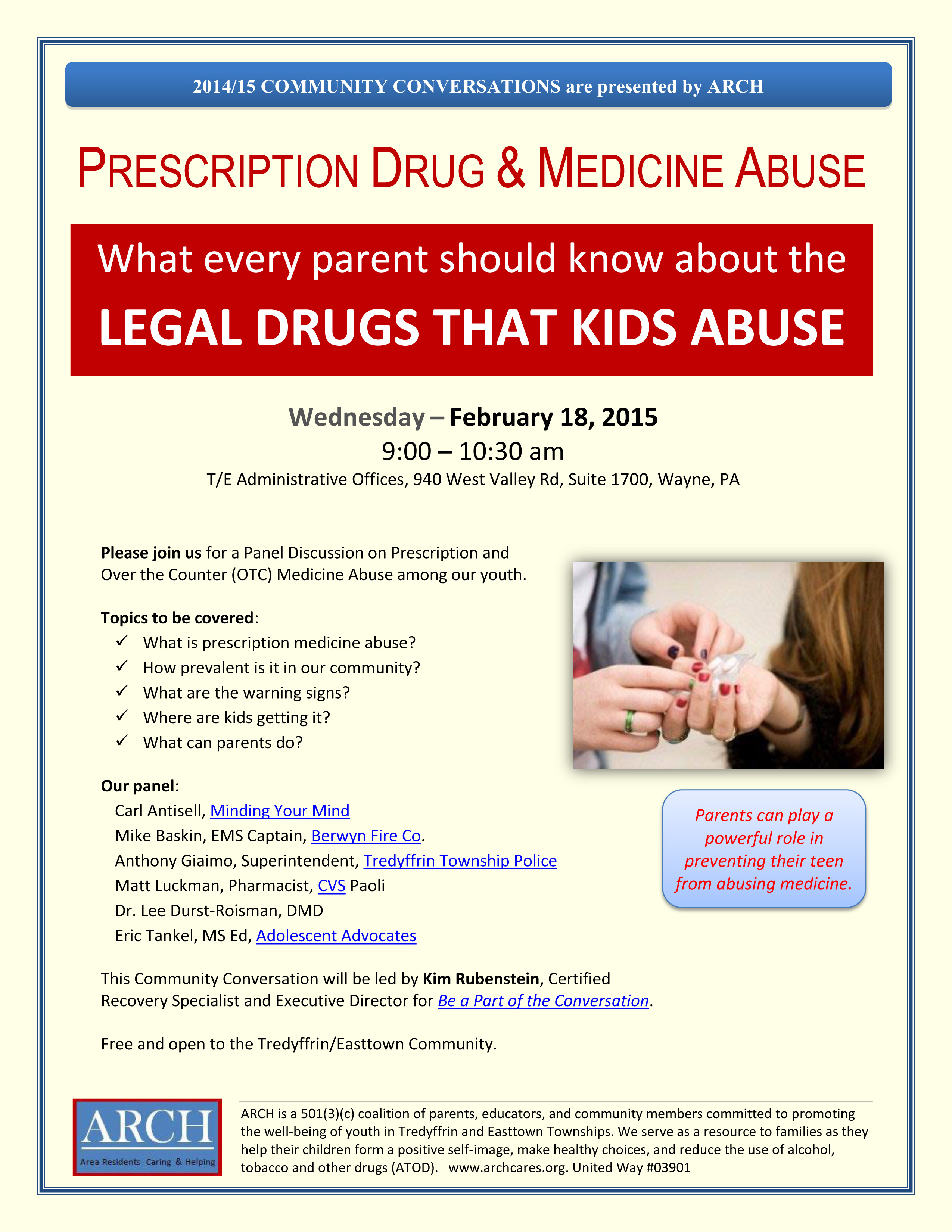 Why We Need Open Conversations About Drugs Community >> Upcoming Events Tredyffrin Easttown Community Discussion Legal